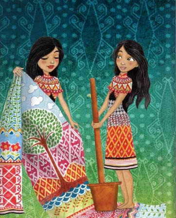 Illustration by Emila Yusof from Legendary Princesses of Malaysia, written by Raman, (Oyez! Books, Malaysia, 2013)
