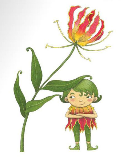 Illustration (Flame Lily) from 'Lil' Guardian Alphabet' by Emila Yusof (Oyez!Books (Malaysia), 2013)