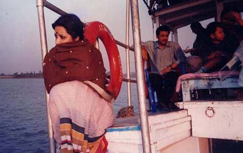 Artist Proiti Roy on a boat trip in the Sunderbans