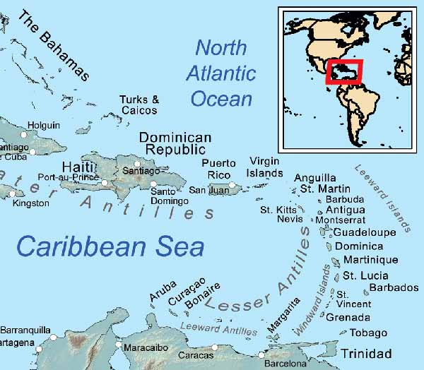 Map showing the Caribbean islands in the Lesser Antilles - By Kmusser (Own work, all data from Vector Map.) [CC BY-SA 3.0 (http://creativecommons.org/licenses/by-sa/3.0)], via Wikimedia Commons - http://commons.wikimedia.org/wiki/File%3ACaribbean_general_map.png
