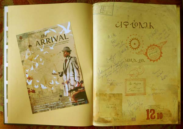 The Arrival By Shan Tan, signed by the author and the cast of the play it inspired, co-created by Sita Brahmachari and Kristine Landon-Smith (2013)