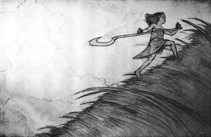 Carl Angel: preparatory sketch for The Girl Who Saved Yesterday