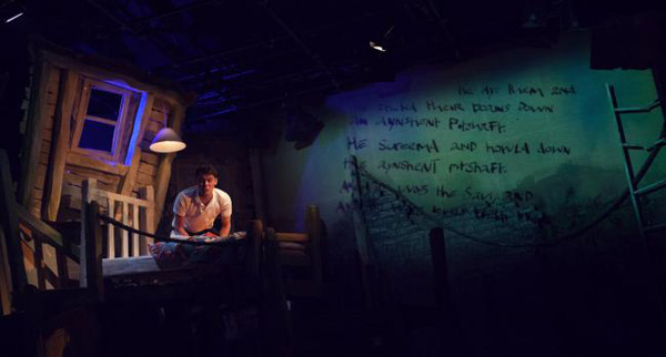 The Savage by David Almond, Live Theatre, Newcastle, 2016 - Dean Bone as Blue Baker, with writing from his story projected on the walls