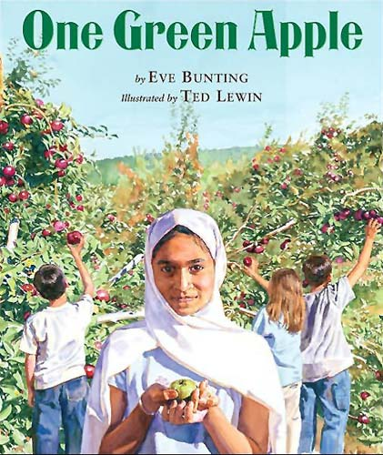 One Green Apple, written by Eve Bunting, illustrated by Ted Lewin (Clarion Books, 2006)
