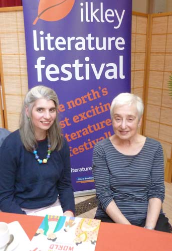 MirrorsWindowsDoors editor Marjorie Coughlan with author/illustrator Jessica Souhami at the Children's Bookshow, Ilkley 2015