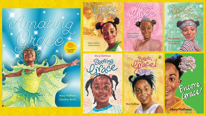 Amazing Grace by Mary Hoffman and Caroline Binch celebrates 25 years: new Anniversary Edition plus the six other Grace books
