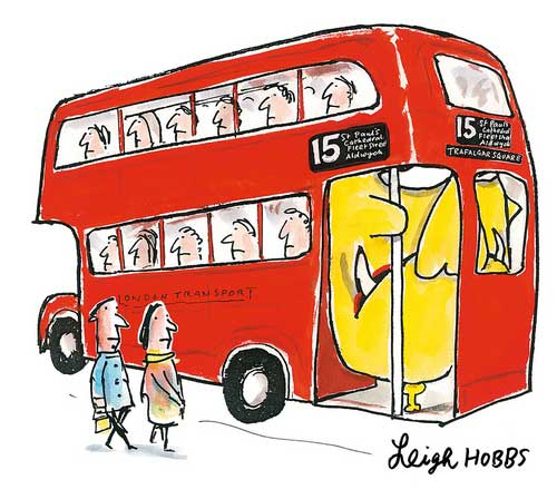 Mr Chicken on a London bus - from 'Mr Chicken Lands on London' by Leigh Hobbs
