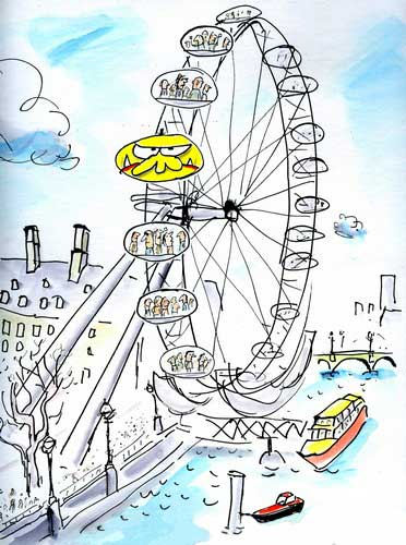 Mr Chicken on the London Eye - from 'Mr Chicken Lands on London' by Leigh Hobbs