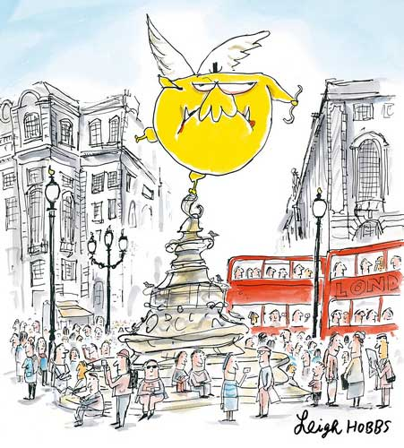 Mr Chicken 'perches' at Picadillly Circus - from 'Mr Chicken Lands on London' by Leigh Hobbs