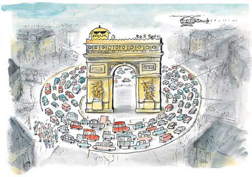 Mr Chicken at the Arc de Triomphe in Paris: illustration from Mr Chicken Visits Paris by Leigh Hobbs