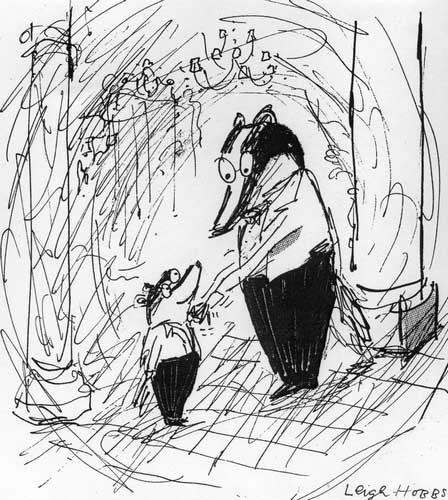 Mr Badger as a cub, with his father - from the Mr Badger series by Leigh Hobbs