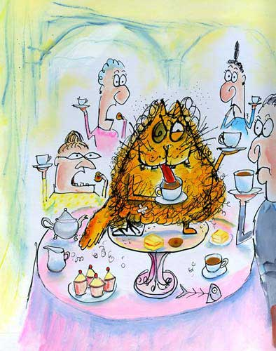 'Old Tom misbehaving at one of Angela Throgmorton's afternoon tea parties' - from the Old Tom series by Leigh Hobbs