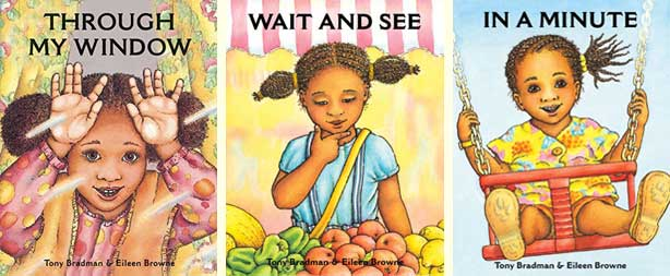 Three picture books featuring mixed-race little girl Jo - Through My Window, Wait and See, and In a Minute, all written by Tony Bradman and illustrated by Eileen Browne (Frances Lincoln)