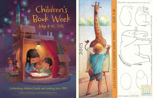 Children's Book Week 2015 (US) - poster designed by Grace Lee; bookmark designed by Raúl Colón