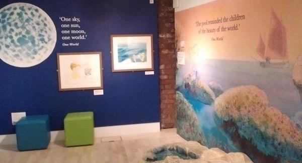 Painting With Rainbows - A Michael Foreman Exhibition at Seven Stories: 'Our World', including the interactive rockpool with sealife and rubbish...